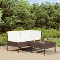 vidaXL Loungegrupp för trädgården med dynor 3 delar konstrotting Brun