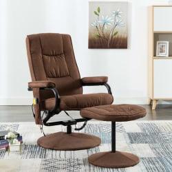 vidaXL Massagefåtölj med fotpall brun tyg Brun