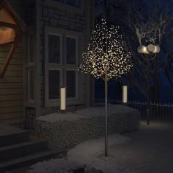vidaXL Plastgran 600 LED körsbärsblommor varmvitt ljus 300 cm Svart