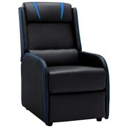 vidaXL Reclinerfåtölj svart och blå konstläder Svart