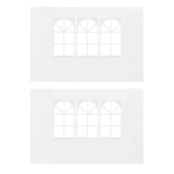 vidaXL Sidoväggar till partytält 2 st med fönster PE vit Vit