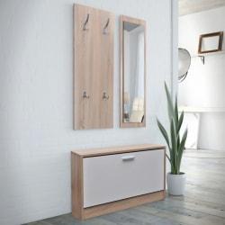 vidaXL Skoskåp 3-i-1 med spegel och hängare ek vit Brun