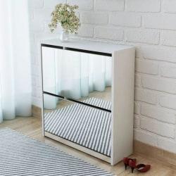 vidaXL Skoskåp med 2 lådor och spegel vit 63x17x67 cm Vit