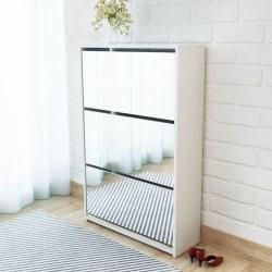 vidaXL Skoskåp med 3 lådor och spegel vit 63x17x102,5 cm Vit
