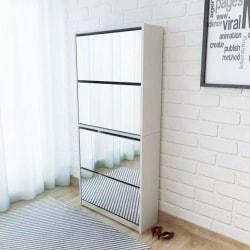 vidaXL Skoskåp med 4 lådor och spegel vit 63x17x134 cm Vit