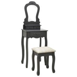 vidaXL Sminkbord med pall grå 50x59x136 cm paulowniaträ Grå