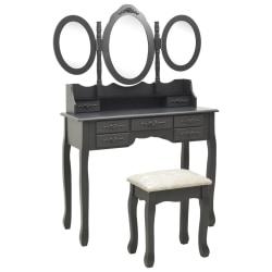 vidaXL Sminkbord med pall och 3 speglar grå Grå