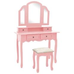 vidaXL Sminkbord med pall rosa 100x40x146 cm kejsarträ Rosa