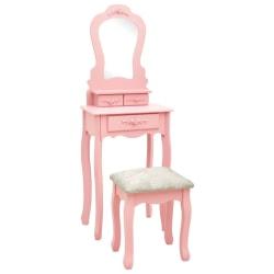 vidaXL Sminkbord med pall rosa 50x59x136 cm paulowniaträ Rosa