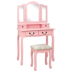 vidaXL Sminkbord med pall rosa 80x69x141 cm paulowniaträ Rosa