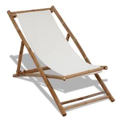 vidaXL Solstol bambu och kanvas Vit