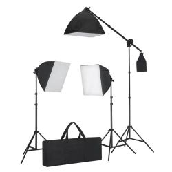 vidaXL Studiobelysning 3 fotolampor med stativ & softbox