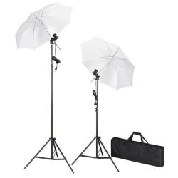 vidaXL Studiobelysning inklusive stativ & paraplyer