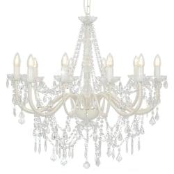 vidaXL Takkrona med pärlor vit 12 x E14-glödlampor Vit