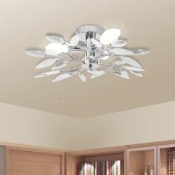vidaXL Taklampa med vita & klara akrylblad för 3 E14 glödlampor Vit
