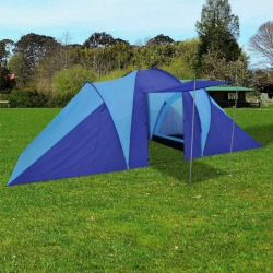 vidaXL Tält för 6 personer marinblå/ljusblå Blå
