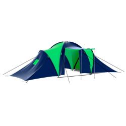 vidaXL Tält för 9 personer blå och grön Flerfärgsdesign