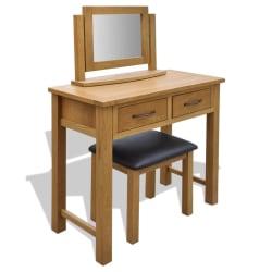 vidaXL Toalettbord med pall massiv ek Brun