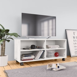 vidaXL TV-bänk med hjul vit 90x35x35 cm spånskiva Vit