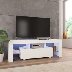 vidaXL TV-bänk med LED-lampor högglans vit 130x35x45 cm Vit