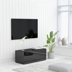 vidaXL TV-bänk svart högglans 80x34x30 cm spånskiva Svart