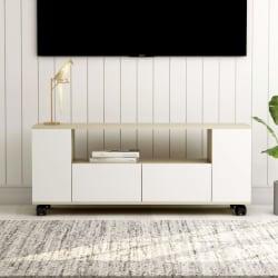 vidaXL TV-bänk vit och sonoma ek 120x35x43 cm spånskiva Beige
