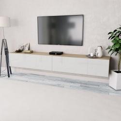 vidaXL TV-bänkar 2 st spånskiva 120x40x34 cm vit högglans ek Brun