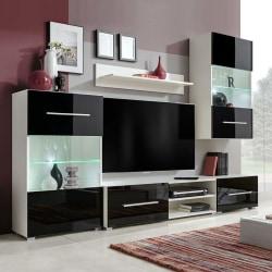 vidaXL TV-möbel med väggskåp och LED 5 delar svart Svart