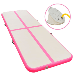 vidaXL Uppblåsbar gymnastikmatta med pump 600x100x10 cm PVC rosa Rosa