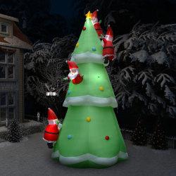 vidaXL Uppblåsbar julgran med jultomte LED IP44 500 cm XXL tyg Flerfärgsdesign