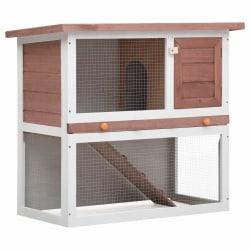 vidaXL Utebur för kanin med 1 dörr brun trä Brun