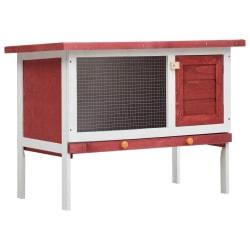 vidaXL Utebur för smådjur med 1 våning röd trä Röd