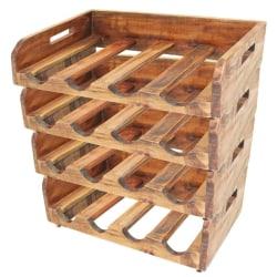 vidaXL Vinställ 4 st för 16 flaskor massivt återvunnet trä Brun