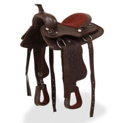 "vidaXL Westernsadel träns&halsband äkta läder 13"" brun Brun"