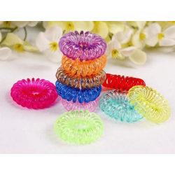 10-pack hårsnodd telefonsladd spiral hair fashion (Mix transp) M