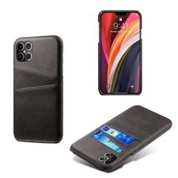 iPhone 12 Pro Max Slim Cover Wallet -Kortfack-Läder (Svart/Brun) Svart