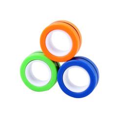 Magnetiska ringar - anti stress ringar-leksaker (Gul/orange/blå)