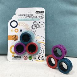 Magnetiska ringar -anti stress ringar-leksaker (Röd/Lila/Turkos)