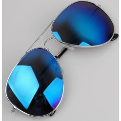 Pilot Aviator Large, solglasögon med silver båge och blå spegel