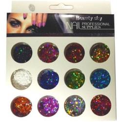 Dekorations set - Glitter - Romber - 12 Kulörer multifärg