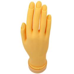 Plasthand för att öva nagelförlängningar på med mjuka leder Orange