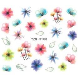 Vattendekaler - Blommor - YZW-3108 - För naglar multifärg