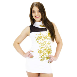 Vit klänning blomster mönster i guldfärg