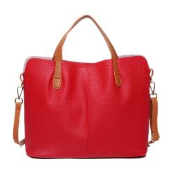 Dam Axelväska Mode Handväskor Stor kapacitet Tote Pu Läder röd