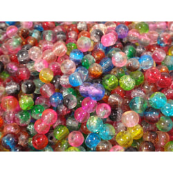 300st Crackle Glaspärlor 4mm- Blandade Färger flerfärgad 4 mm