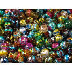 100st Glaspärlor 4mm - Blandade Färger flerfärgad 4 mm