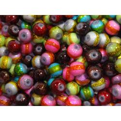 250st Glaspärlor 4mm - Blandade Färger flerfärgad 4 mm