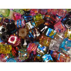 100st Glaspärlor 4mm Kvadrater - Blandade Färger  flerfärgad 4 mm