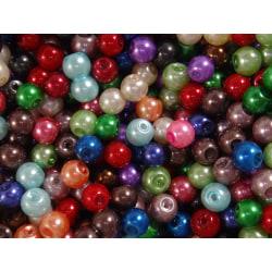 100st Vaxade Glaspärlor - Blandade Färger 6 mm