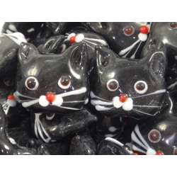 10st Glaspärlor Katter 20mm Svarta svart 20 mm